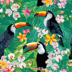 Tropical Flowers and Toucan Birds Vintage Background. Seamless Summer Pattern in Vector