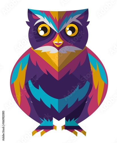 Foto op Aluminium Uilen cartoon colorful cute owl