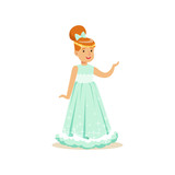 Beautifull redhead little girl princess in a light blue ball dress and golden tiara, fairytale costume for party or holiday vector Illustration