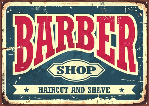 Barber shop hipster haircut and shave vintage sign template. Barbershop retro poster layout.