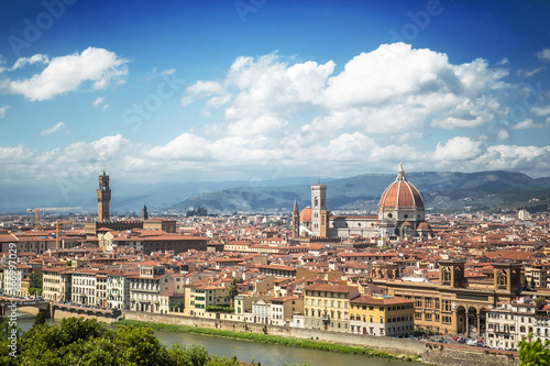 Staande foto Florence Italy, Florence. View of the Cathedral of Santa Maria del Fiore and Palazzo Vecchio from the Piazzale Michelangelo.