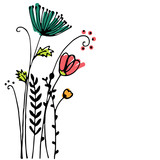 Design of Hand drawn doodle flowers set on white background. Illustration