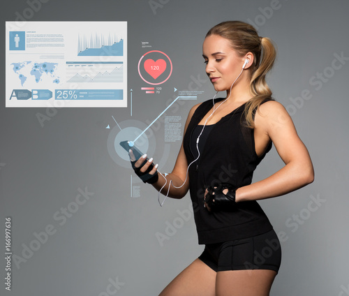 Poster woman with smartphone, earphones charts and pulse