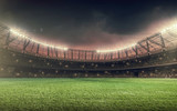 soccer field with green grass at night