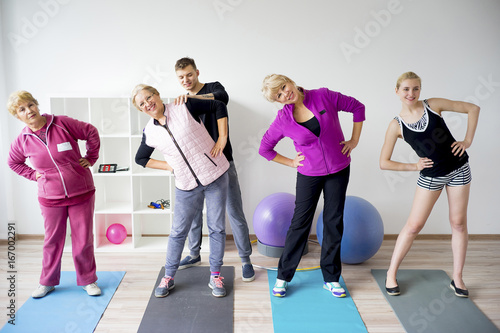 Sticker Group of elderly people doing exercises