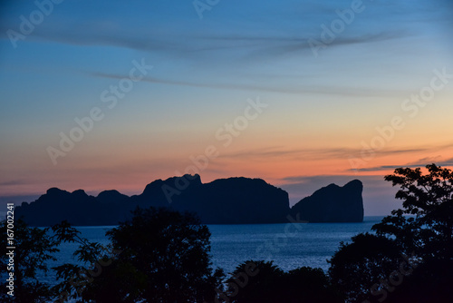 The silhouette of Koh Phi Phi island during the sunset - Thailand Poster