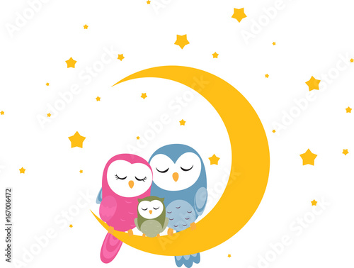 Foto op Aluminium Uilen cartoon Owl family sleep on the moon background for wallpaper