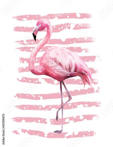 Tropikalny lato geometryczny plakat projekt z grunge tekstury. Akwarela różowy ptak - flamingo. Egzotyczny Abstrakcjonistyczny tło, rocznik. Ręcznie malowane ilustracji. doodles retro
