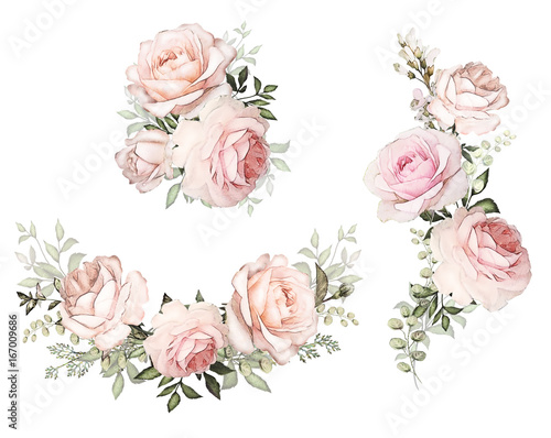 watercolor flowers. floral illustration in Pastel colors. Bouquet of flowers pink rose, Leaf and buds. Cute composition for wedding or  greeting card.  branch of flowers isolated on white background