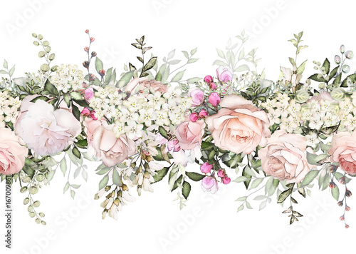 isolated Seamless border with pink flowers, leaves. vintage watercolor floral pattern with leaf and rose. Pastel color. Seamless floral rim,  band for cards, wedding or fabric. - 167009861