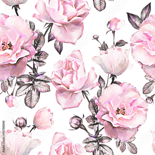 Seamless pattern with pink flowers and leaves on white background. Watercolor floral pattern, flower rose in pastel color, tile for wallpaper or fabric. - 167010044