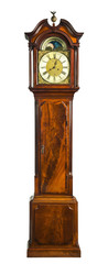 tall longcase grandfather clock walnut wood with marquetry © dcw25