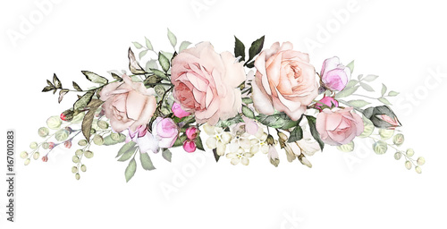 watercolor flowers arrangements. floral illustration. composition of flowers pink rose, Leaf and buds. Cute illustration for wedding or  greeting card.  branch of flowers isolated on white background - 167010283