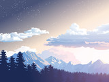 Vector illustration mountain landscape. Starry night sky. Sunset, dawn sun over the mountains in forest
