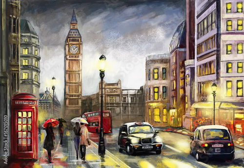 oil painting on canvas, street view of london. Artwork. Big ben. couple and red umbrella, bus and road, telephone. Black car - taxi. England - 167015010