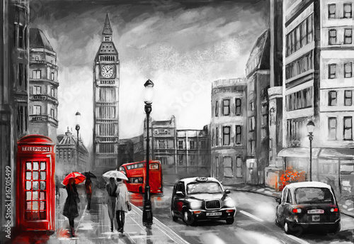 oil painting on canvas, street view of london. Artwork. Big ben. couple and red umbrella, bus and road, telephone. Black car - taxi. England - 167015499