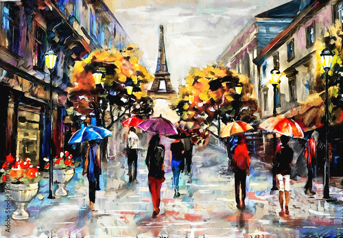 Fototapety, obrazy : oil painting on canvas, street view of Paris. Artwork. eiffel tower . people under a red, blue umbrella. Tree. France