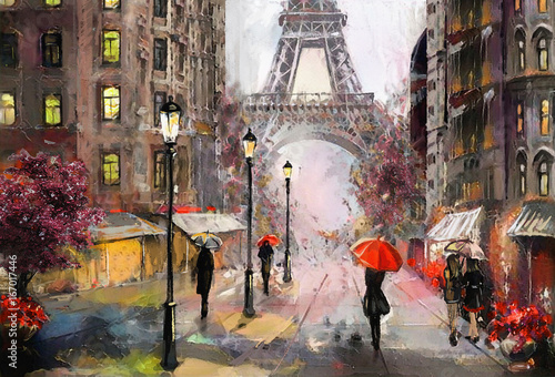 Fototapety, obrazy : oil painting on canvas, street view of Paris. Artwork. eiffel tower . people under a red umbrella. Tree. France
