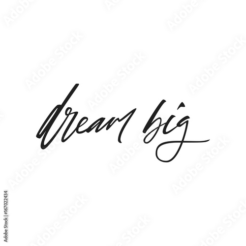 Motivational quote dream big. Black and white hand drawn typography poster isolated on light background. Calligraphy lettering vector illustration for home decoration.