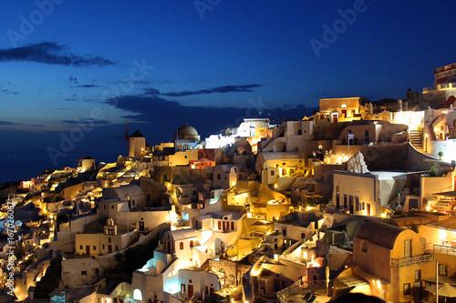 Night Skyline of Oia village on the Greek island of Santorini island, Greece