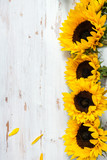 Yellow Sunflower Bouquet on White Rustic Background - 167039423