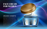 Realistic Women Night Cream for Eye and Face Elegant Blue Bottle Mockup Dazzling Background. Luxury Contained Gloss Effect. Excellent Advertising. Cosmetic Ads Design Product. 3D Vector Illustration