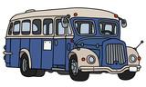 Retro blue and cream bus - 167042664
