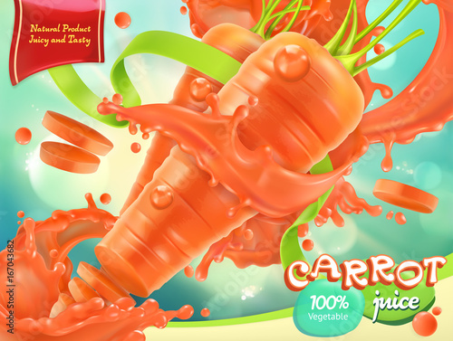 Carrot vegetable. Healthy food. 3d realistic vector, package design