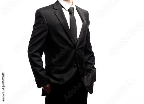 Businessman standing isolated on a white background Poster