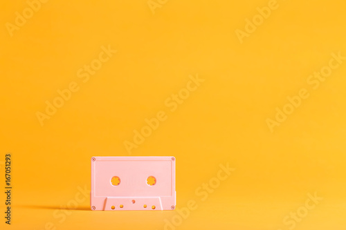 Retro cassette tape a on bright background Poster
