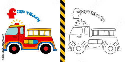 Fotobehang Auto fire truck - vector illustration for coloring page - for children.