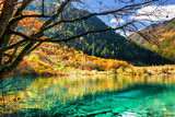 Azure water of lake among fall woods, the Shuzheng Valley - 167060881