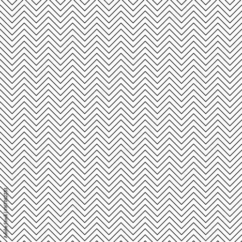 Vector seamless zigzag pattern. Chevron line texture. Black-and-white background. Monochrome minimal design. Vector EPS10 - 167062283