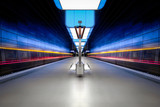 Long exposure of a modern underground station - 167069247