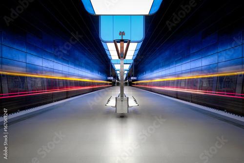 Long exposure of a modern underground station Plakát