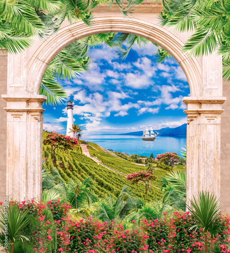 Fototapeta Digital fresco: old archway, lighthouse and flowers. Big swimming ships and green plants.