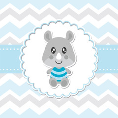 Cute baby rhino smiles on flower frame vector cartoon illustration for baby shower card design, postcard, and wallpaper