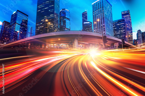 Abstract speed technology background with Hong Kong City night scenes - 167080647