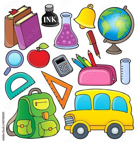 Tuinposter Voor kinderen School related objects collection 1