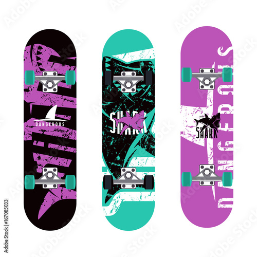 Foto op Aluminium Skateboard Skateboards graphic design with the image of sharks