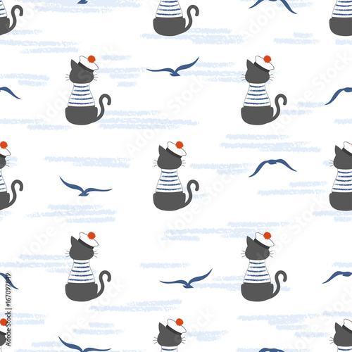 Seamless marine pattern with cartoon cat Sailor and seagulls. Vector sea background for kids - 167097849