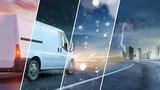 Van von Lieferservice fährt durch Wetter und Jahreszeiten - 167098080