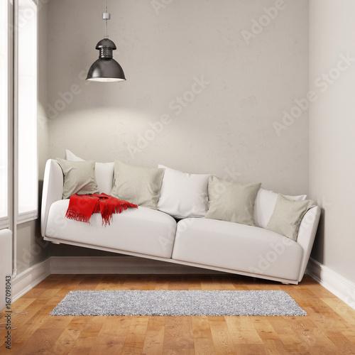 Spoed canvasdoek 2cm dik Wanddecoratie met eigen foto Sofa in einem zu kleinen Raum