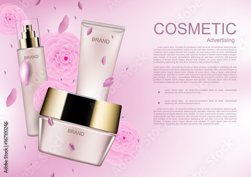 Cosmetic ads template, Cosmetic product and pink camellia on pink background