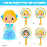 Children educational game. Matching pairs. Find the correct reflection - 167103657
