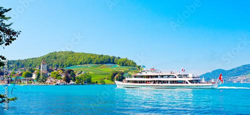 Foto op Plexiglas Pool Thunersee Panorama, Schweiz