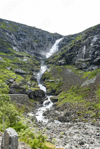 Waterfall Stigfossen at Trollstigen in Norway - 167108408
