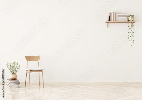 Pusta ściana makieta z krzesłem, półka z książkami i roślin w wazonie w ciepły beżowy salon wnętrza. Renderowania 3D.