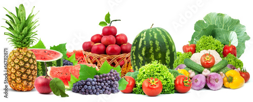 Colorful healthy fresh fruits and vegetables. Shot in a studio