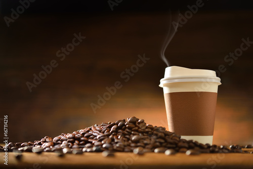 Sticker Coffee Cup and Beans on Wooden Table